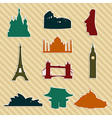 World landmark silhouettes set vector image