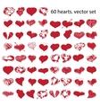 happy valentines hearts set vector image
