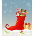 Background with red sock and Christmas gifts vector image