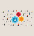 crowd and gears machine cogs working together team vector image