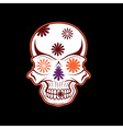 Day of The Dead Skull with flowers dia de los vector image