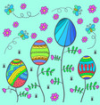 doodle of easter with flower and egg vector image