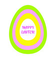 beautiful flat easter egg of green pink yellow and vector image vector image