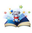 A book with an elephant holding two balloons vector image vector image