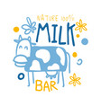 nature milk bar logo symbol colorful hand drawn vector image