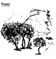 trees collection ink herault france landscape vector image vector image