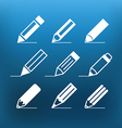 White pencil icons clip-art on color background vector image vector image