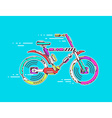 bicycle moving fast on bright blue backgr vector image
