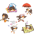 Set of cute owls for you design vector image
