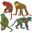 Monkey painted in the style of mehendi vector image