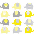 Yellow and Grey Cute Elephant set vector image vector image
