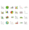Charts colorful icons set vector image