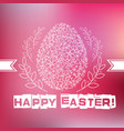 floral white easter egg on pink background vector image