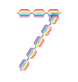 Number 7 made in rainbow colors vector image