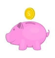 Pink pig money box icon cartoon style vector image