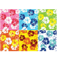 seamless hibiscus flower pattern vector image