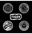 Set of logos with tigers striped icons and lagels vector image