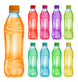 set of plastic bottles with multicolored juices vector image