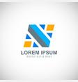 shape letter n colored company logo vector image