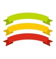 Red yellow green ribbons icon flat style vector image