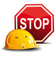 helmet and sign stop vector image