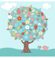 Fantastic Tree And Birds vector image
