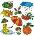 autumn doodles vector image vector image