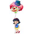 A schoolgirl holding a clown balloon vector image