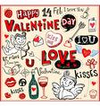 Valentine doodles set vector image