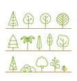 Different trees collection isolated on white vector image vector image
