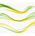 Abstract Yellow and Green Wave Set on Transparent vector image