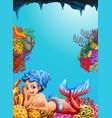 Mermaid swimming under the ocean vector image