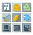 Set of 9 financial investment square icons vector image