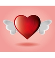 red heart with wings pink backgraound vector image