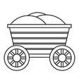 Vintage wooden cart icon outline style vector image
