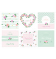 floral card templates set birthday valentines vector image