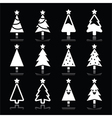 Christmas white tree icons set on black vector image vector image