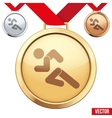 Gold Medal with the symbol of running people vector image