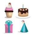 birthday icons party celebration graphic vector image