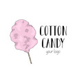 cotton candy on a stick the logo for your candy vector image