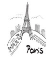 paris eiffel tower city vector image