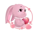 rabbit surrounded by hearts vector image