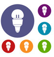 reflector bulb icons set