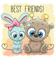 cute bear and rabbit girl vector image