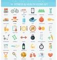 fitness and health Flat icon set Elegant vector image
