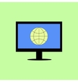 Flat style computer with internet icon vector image
