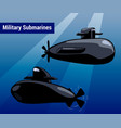 military submarines in water black sub cartoon vector image