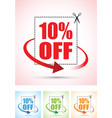ten percent arrow set vector image vector image