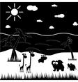 Black and white cartoon animals vector image