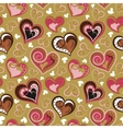 Hand drawn doodle seamless pattern of hearts Pink vector image